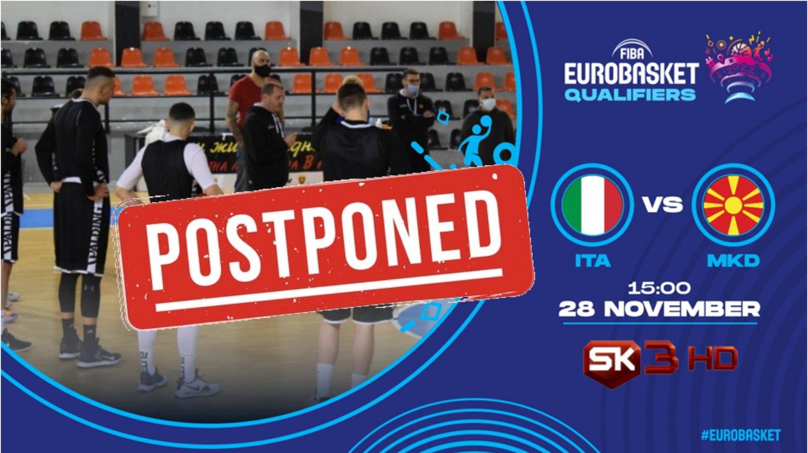 Соопштение на ФИБА за натпреварот Италија-Македонија од квалификациите за Евробаскет 2022